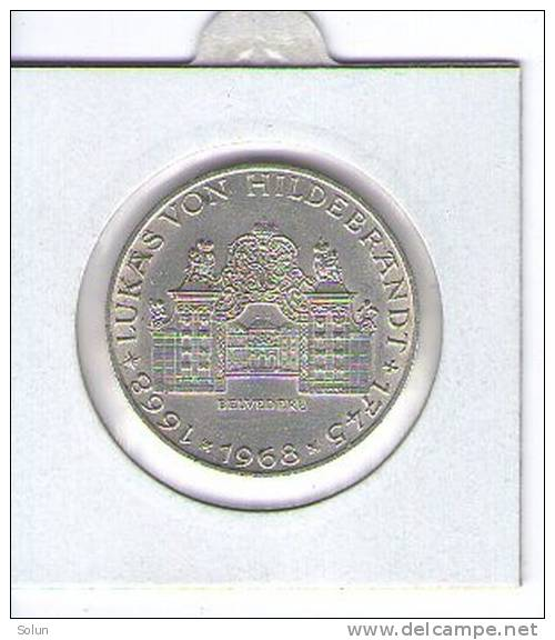AUSTRIA ,ÖSTERREICH , 25 SCHILLING 1968 ,300TH ANNIVERSARY  OF LUKAS VON HILDEBRANT SILVER COIN - Oostenrijk