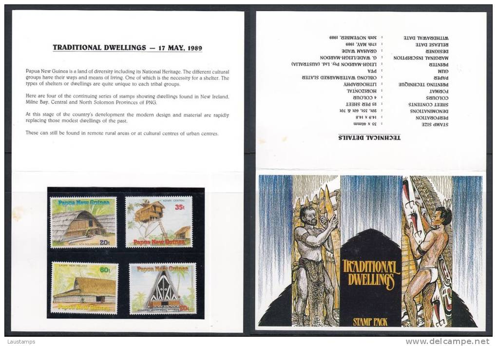 Papua New Guinea 1989 Traditional Dwellings Stamp Pack - Papouasie-Nouvelle-Guinée