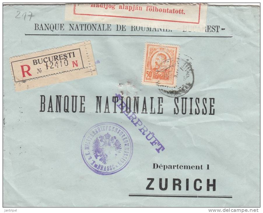 ROMANIE 1915 HUNGARIAN& K.U.K.CENSORED BANKCOVER PERFIN ST - World War 1 Letters