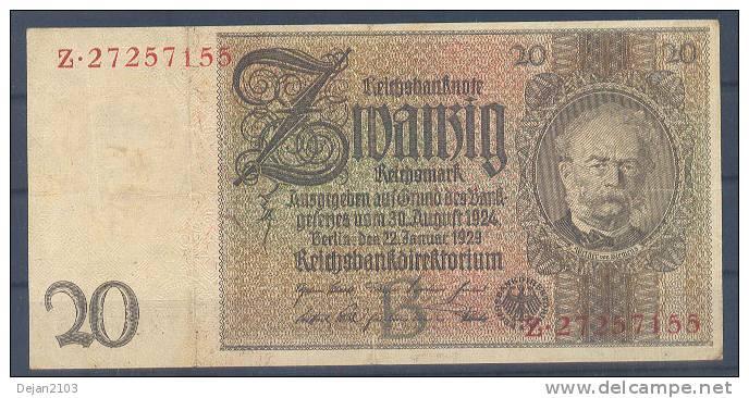 Germany Paper Money Bill Of 20 Marka 22-1-1929 USED - [ 3] 1918-1933 : República De Weimar