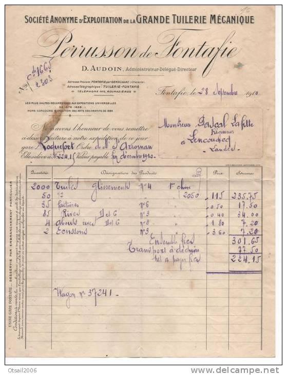 16  Charente - Fontafie - Lettre Commerciale Avec Facture TUILERIE PERRUSSON De FONTAFIE - Cachet Perlé De LENCOUACQ - France