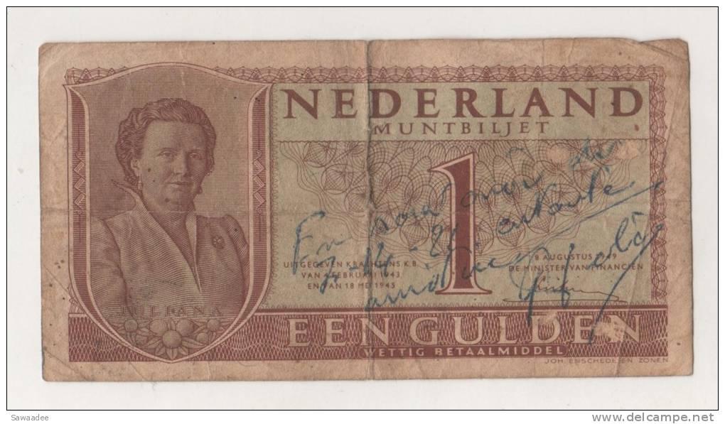 BILLET PAYS-BAS - P.72 - 1 GULDEN - 08/08/1949 - REINE JULIANA - [2] 1815-… : Kingdom Of The Netherlands