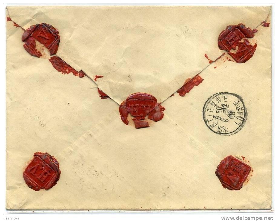 FRANCE - SEMEUSE CAMÉE - N° 142 + 140 + 138 + 137 SUR LETTRE CHARGÉ DE LYON TERREAUX LE 7/12/1908 - TB - Lettres & Documents