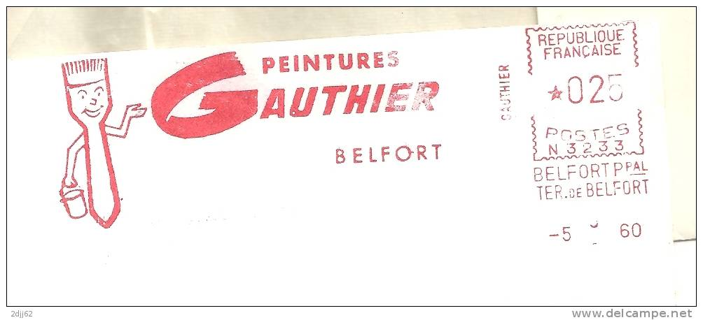 Batiment, Peintre, Peinture, Pinceau, Belfort - EMA Secap -  Enveloppe Entière  (K648) - Profesiones
