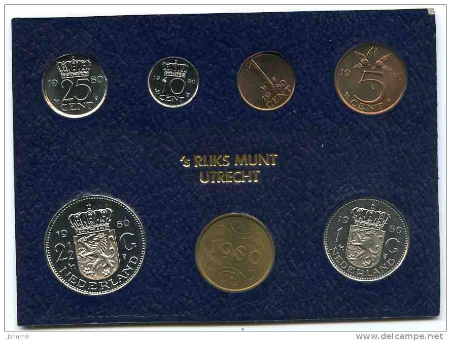 Pays-Bas Netherland Coffret Officiel BU 1 Cent à 2 1/2 Gulden 1980 + Jeton KM SS12 - [ 9] Mint Sets & Proof Sets