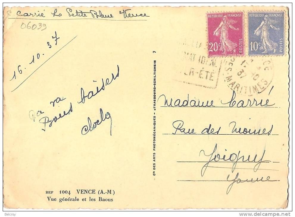 """Dépt 06 - VENCE - Vue Générale Et Les Baous (CPSM Grand Format) """"CAP"""" Numéro 1004 - Vence"""