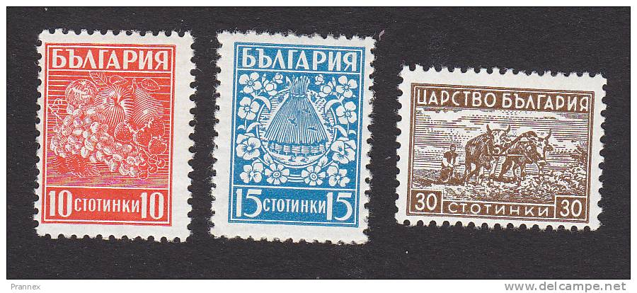 Bulgaria, Scott # 364-366, Mint Hinged, Fruit, Bees And Flowers, Plowing, Issued 1940 - 1909-45 Kingdom