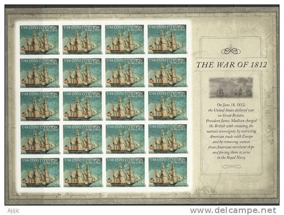 USA. Voilier USS Constitution (Seconde Guerre D'indépendance De 1812) Feuille Entiere Collector. - Feuilles Complètes