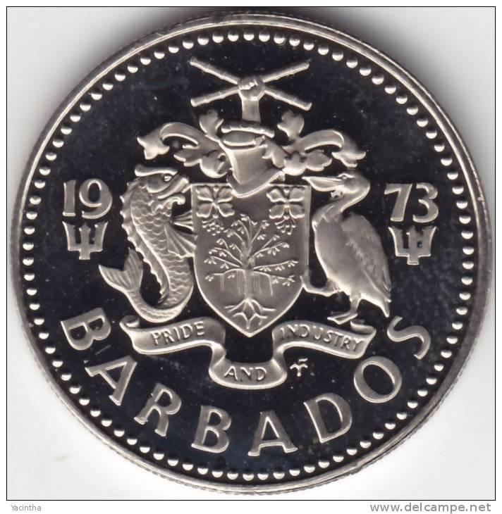 @Y@   Barbados  25 Cent 1973    PROOF    (C361) - Barbades