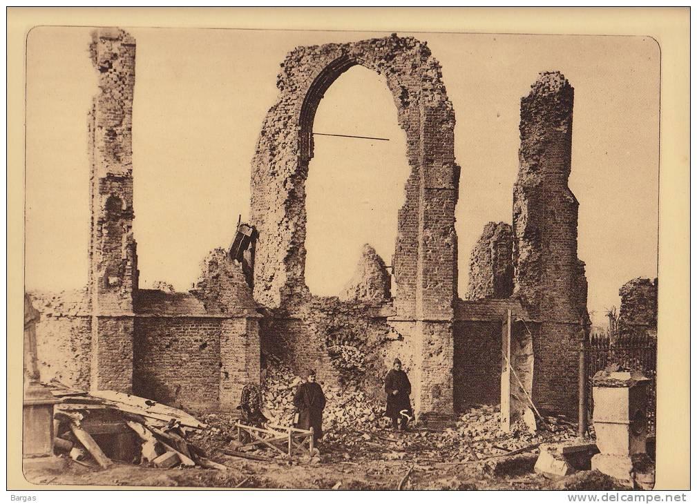 Planche Du Service Photographique Armée Belge Guerre 14-18 WW1 Ruine Eglise De Merckem - Libri, Riviste & Cataloghi
