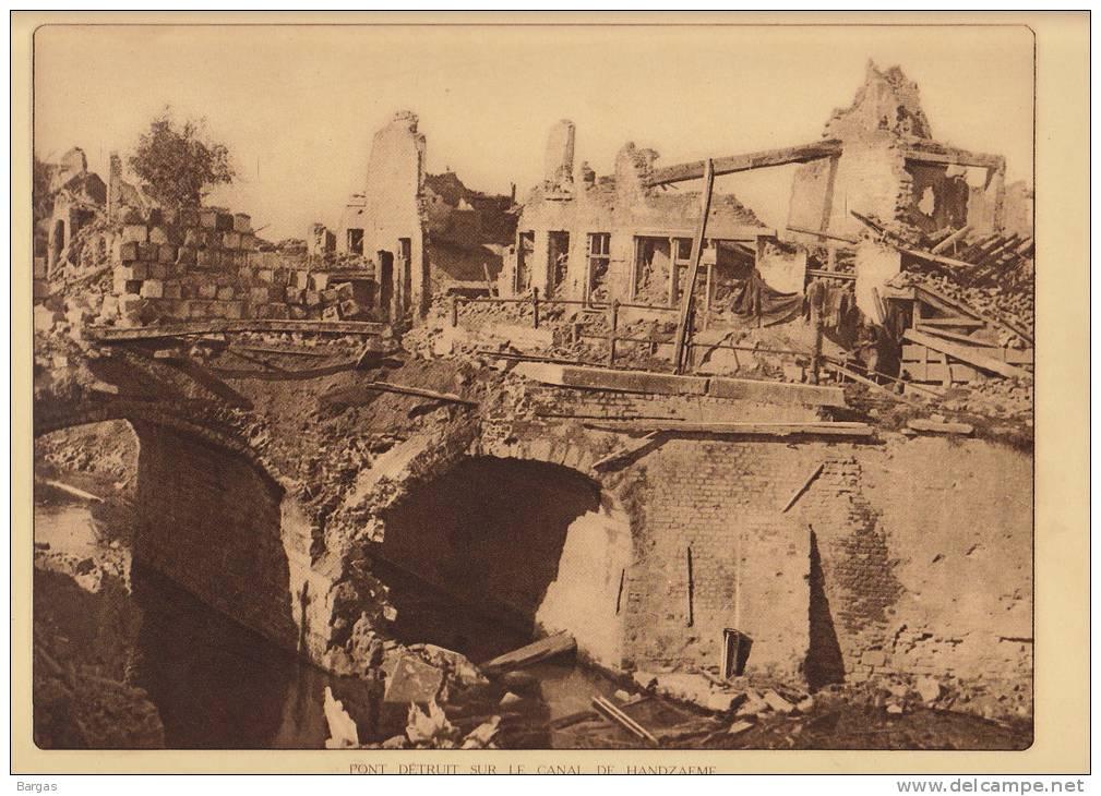 Planche Du Service Photographique Armée Belge Guerre 14-18 WW1 Pont Detruit Sur Le Canal De Handzaeme - Libri, Riviste & Cataloghi