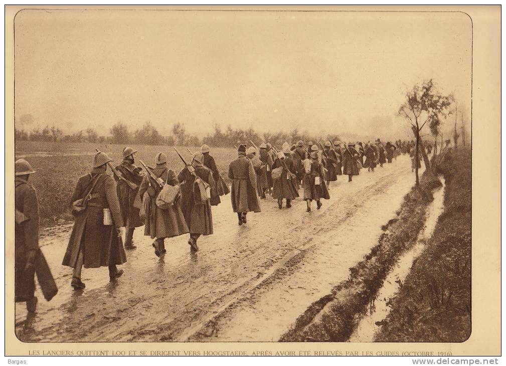 Planche Du Service Photographique Armée Belge Guerre 14-18 WW1 Militaire Les Lanciers Quittent Loo Vers Hoogstaede - Libri, Riviste & Cataloghi