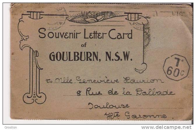 GOULBOURN  N S W  SOUVENIR LETTER CARD (8 VUES SUR PAPIER) - Australie