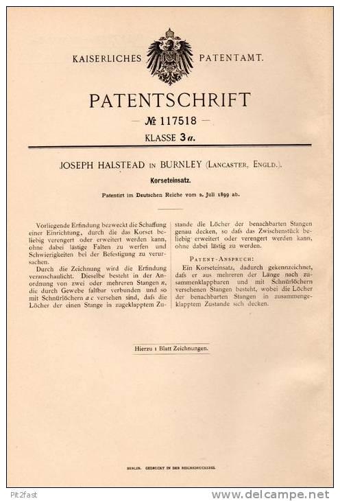 Original Patentschrift - J. Halstead In Burnley , Lancaster , 1899 , Korsett , Corsage !!! - Before 1900