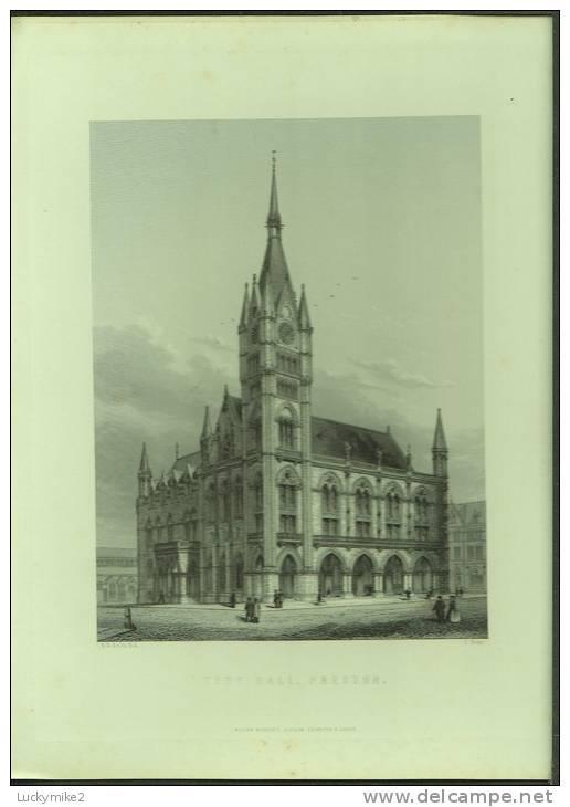 "A C1870 Engraving Of The  ""Town Hall, Preston""  By  'C Fenn'. - Prints & Engravings"