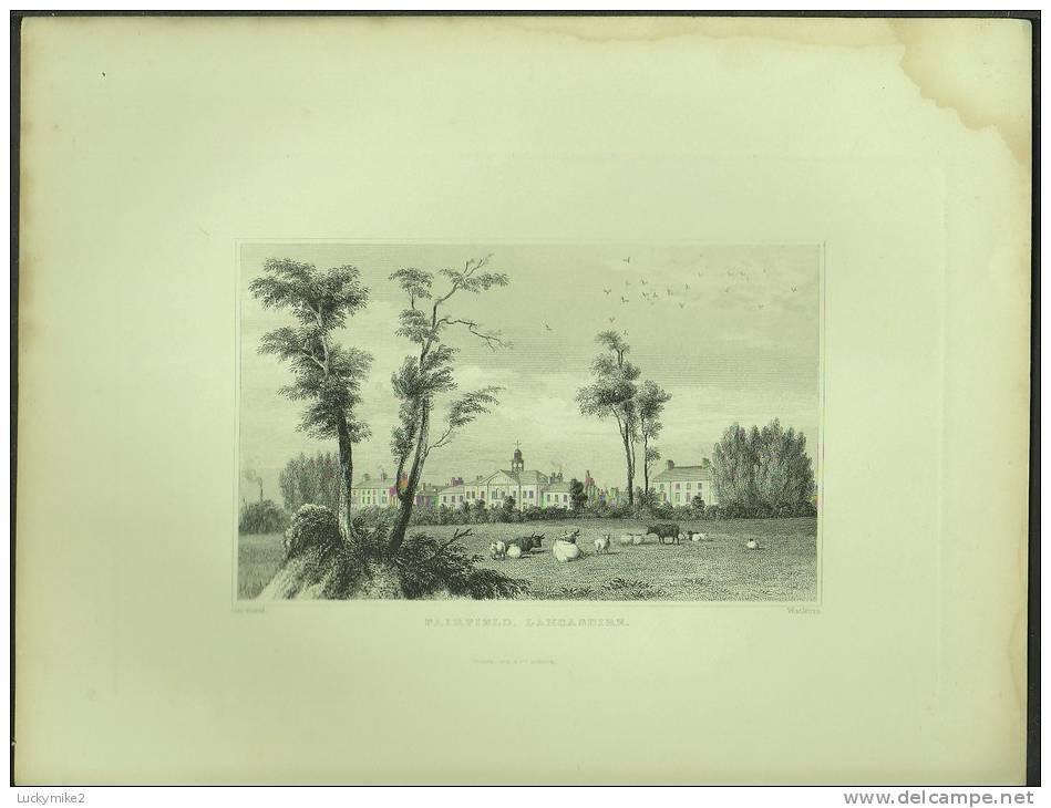 "A C1870 Engraving Of  ""Fairfield, Lancashire""  By  'Watkins'. - Prints & Engravings"