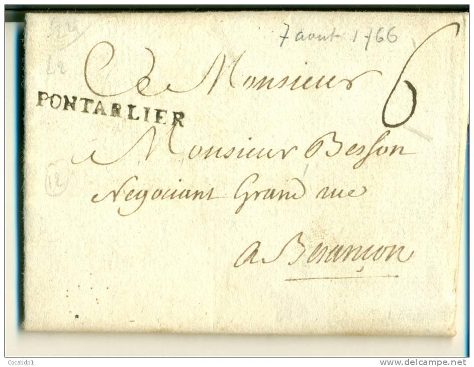 MARCOPHILIE DOUBS - PONTARLIER - LENAIN N°2 - 1701-1800: Précurseurs XVIII