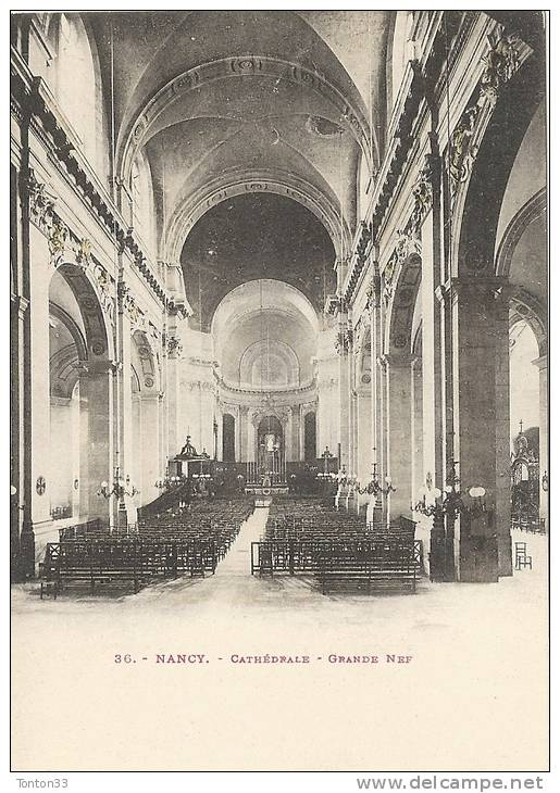 NANCY  -   54  -  La Cathédrale  - La Grande Nef  -  150113  -  CPA DOS SIMPLE  - - Nancy