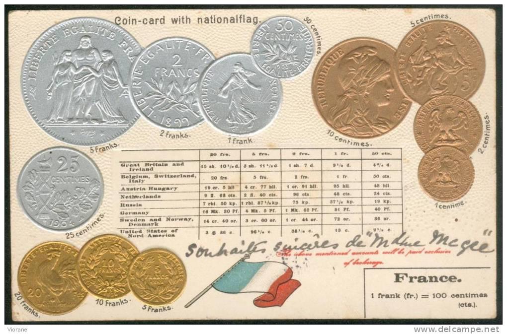Pièces Françaises  1 Centime à 20 Fr Or   (carte Gauffrée) - Monnaies (représentations)