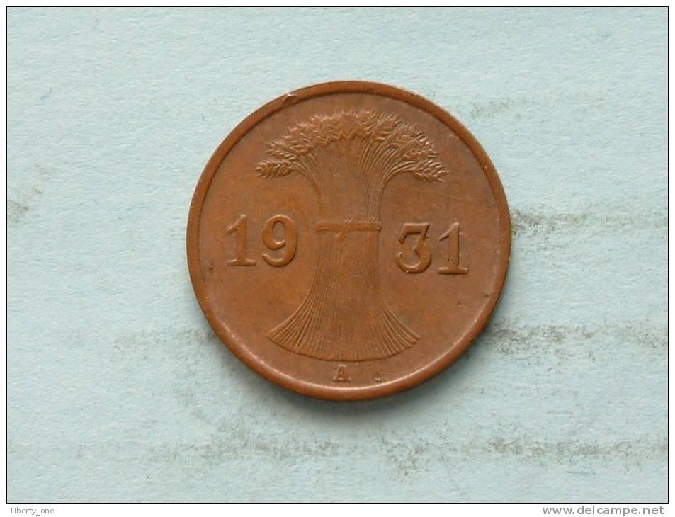 1931 A - 1 REICHSPFENNIG / KM 37 ( Uncleaned - For Grade, Please See Photo ) ! - [ 3] 1918-1933 : Weimar Republic