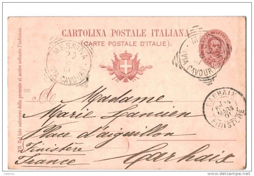 10567    MESSINA  Via Cavour   Entier Postal   1901 - Italia