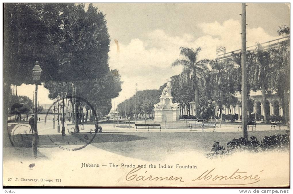 Pk CUBA - Havana - Habana - Prado & Indian Fountain - Cartes Postales