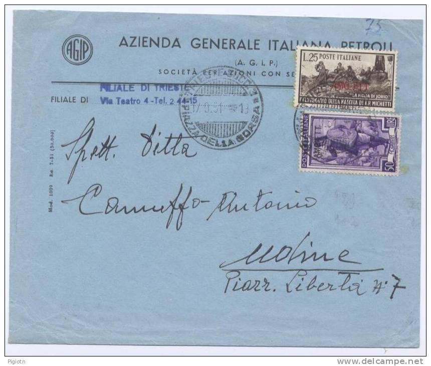 TS25 - 25 L MICHETTI. + 50 L ITALIA  AL LAVORO SU LETTERA DA TRIESTE A UDINE  - 17.9.1951 - 7. Trieste