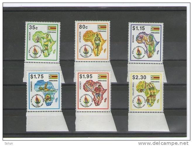 ZIMBABWE 1995  6th ALL AFRICA GAMES  SET 6 STAMPS UNUSED  SPORT - Zimbabwe (1980-...)