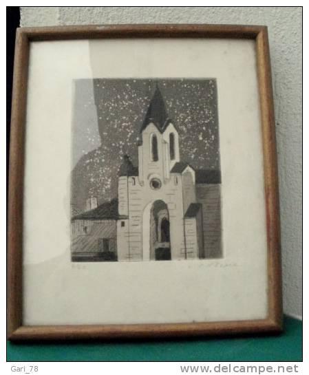 Gravure Encadrée De Christian D´Espic 4/40 Eglise De Bagat En Quercy - Estampes & Gravures