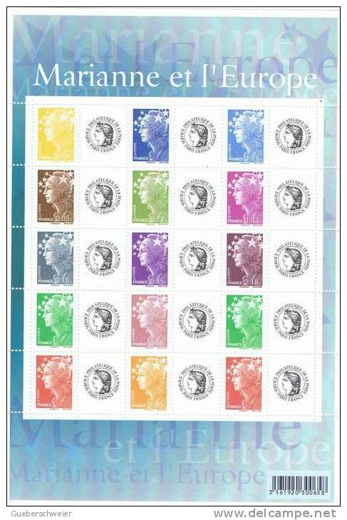 Feuillet De 15 Mariannes De Beaujard Personnalisés N° F4226A Neufs** Logo Cérès Sous Faciale - France