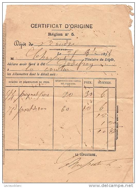 Livraison/ Certificat D´Origine / Allumettes/Région N°5/ Saint André/Eure/ La Couture/ 1878    AL14 - Boites D'allumettes