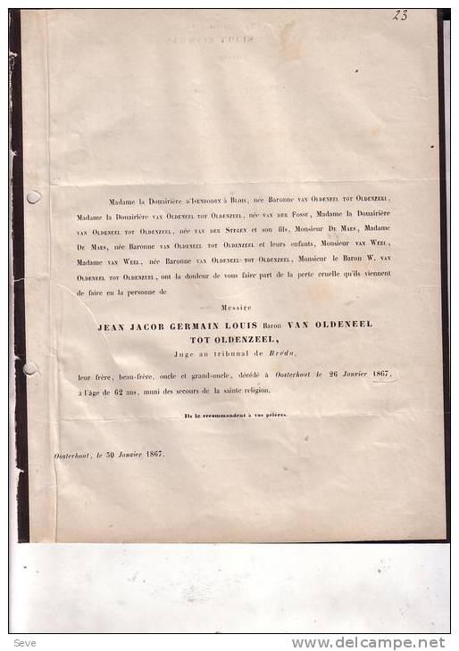 OOSTERHOUT  BREDA Jean Jacob Baron Van OLDENEEL TOT OLDENZEEL 1805-1867 Juge Doodsbrief - Overlijden