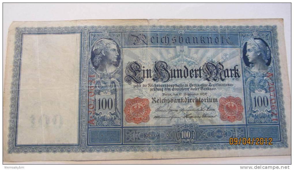 """Reichsbanknote """"Ein Hundert Mark"""" Berlin, Den 10. September 1909 Nr. A 2070621 - 1871-1918: Deutsches Kaiserreich"""