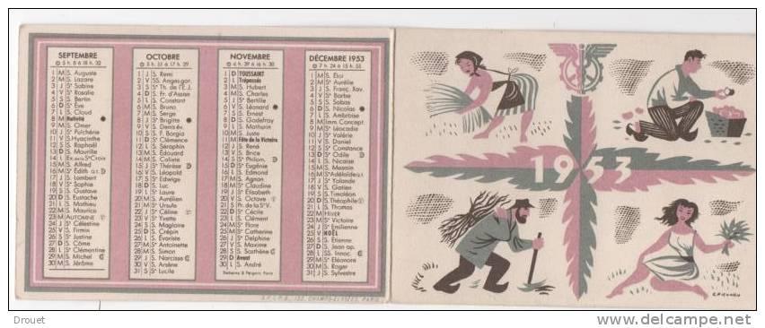 CALENDRIER DE POCHE  - BNCI  - 1953 - Calendriers