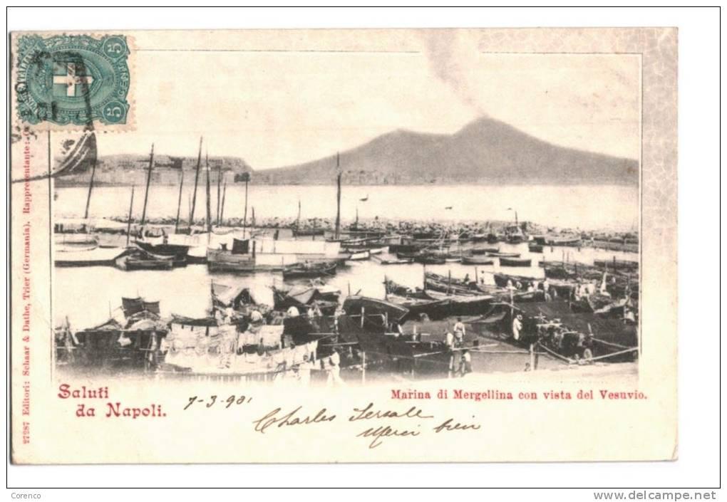 10641     SALUTI DA NAPOLI  MARINA DI MERGELLINA CON VISTA DEL VESUVIO  1901 - Italia