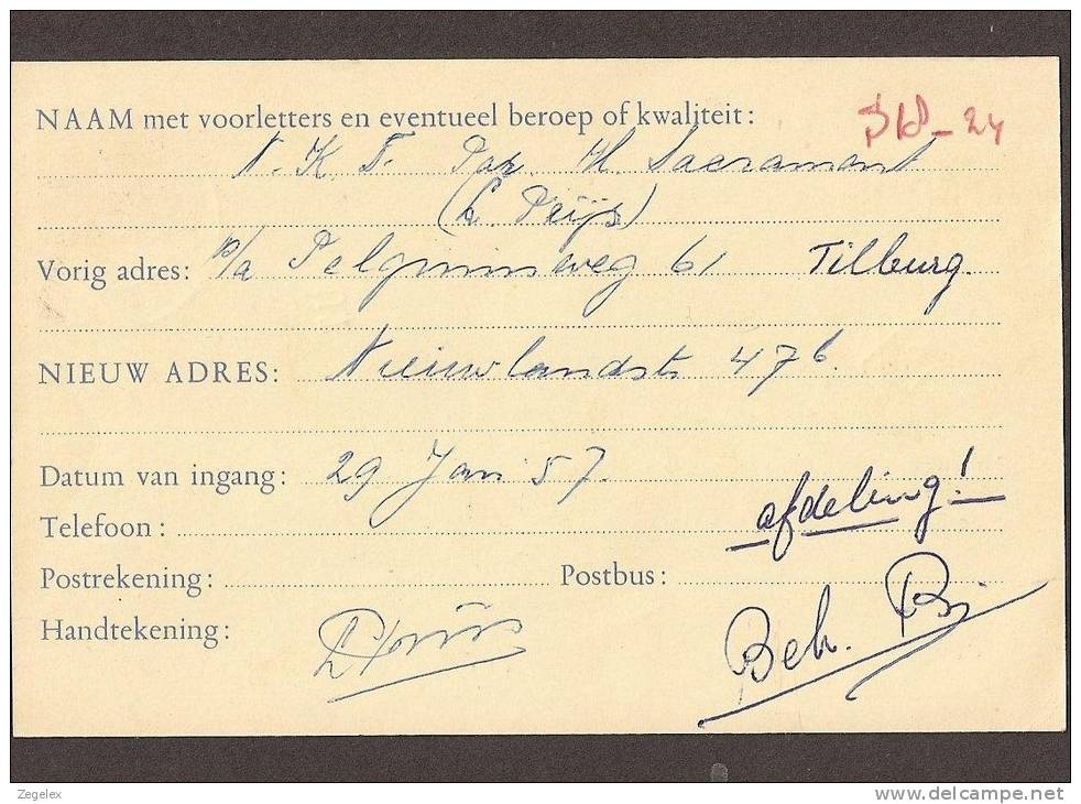 Verhuiskaart 1954 Groter Formaat Geuzendam Nr 22 - Postal Stationery
