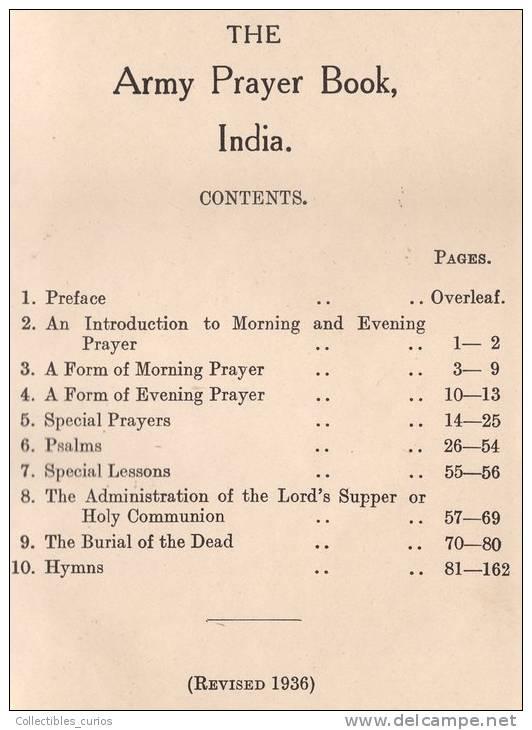 BRITISH INDIA ARMY PRAYER BOOK SIMLA 1936 RARE - Christianity, Bibles