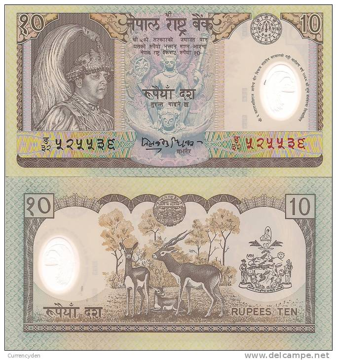 Nepal P-45, 10 Rupee, King's Accession To The Throne / Stag - POLYMER - $2CV - Nepal