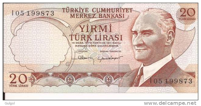 TURKEY TURCHIA 20 LIRASY LIRE 1970 Uncirculated FDS Bill Banknote Banconota - Turquie