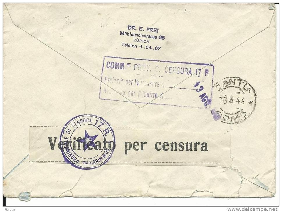 VE171 - LETTERA DA ZURIGO  A CANTU´  - 11.8.1943 - Svizzera
