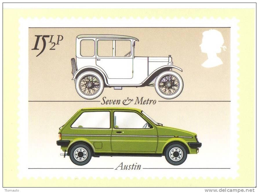 British Motor Cars  -  Austin Seven - Austin Metro    -   Stamp Card - Turismo