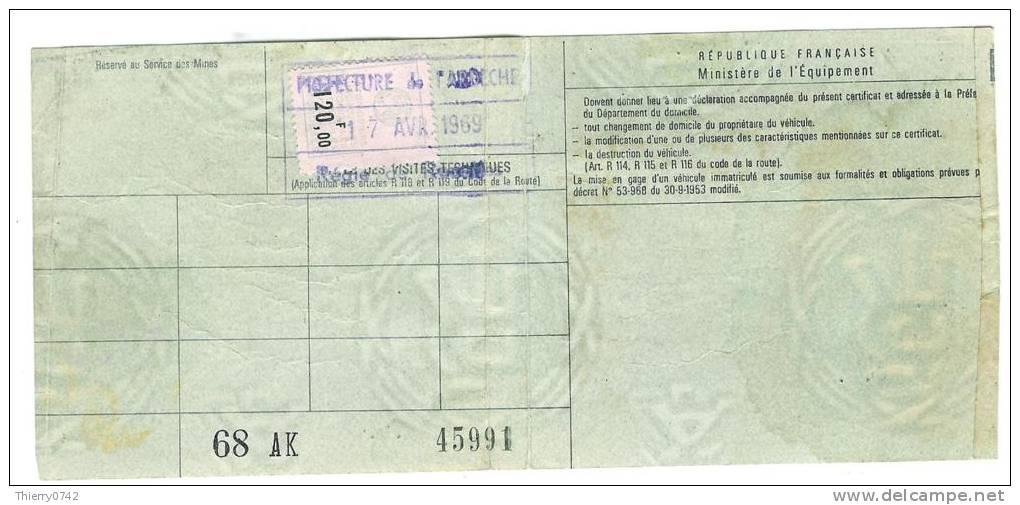 ardeche roiffieux timbre fiscal 1969 voiture simca aronde 1960 carte grise certificat. Black Bedroom Furniture Sets. Home Design Ideas