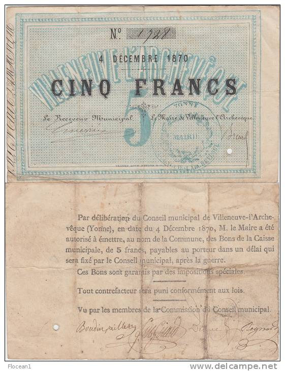 RARE **** 5 FRANCS 4 DECEMBRE 1870 - VILLENEUVE L'ARCHEVEQUE (YONNE) **** EN ACHAT IMMEDIAT !!! - ...-1889 Franchi Antichi Circolanti Durante Il XIX Sec.
