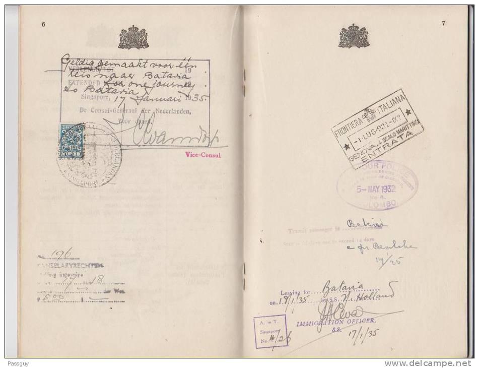 INDES NEERLANDAISES Passeport 1931  DUTCH EAST INDIES Passport - Revenues - Historical Documents