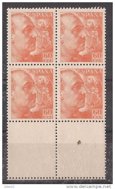 ES1054-LB058. España.Spain Espagne CID Y GENERAL FRANCO 1949/53.(Ed 1054**bl4) Sin Charnela - 1931-50 Nuevos & Fijasellos
