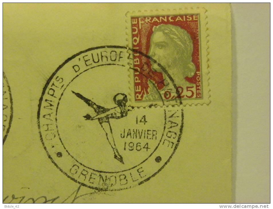 38 GRENOBLE CAD 14/01/64 Sur Devant D´enveloppe Champts Europe Patinage - Cachets Commémoratifs