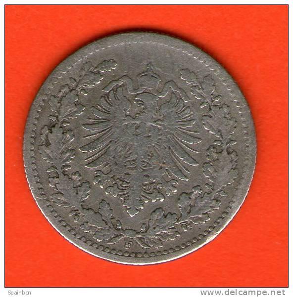 Deutsches Reich / Imperio / KR  KM#6  **  50 Pfennig 1877 F  **  Plata / Silber / Silver ** ALEMANIA GERMANY DEUTSCHLAND - [ 2] 1871-1918 : Imperio Alemán