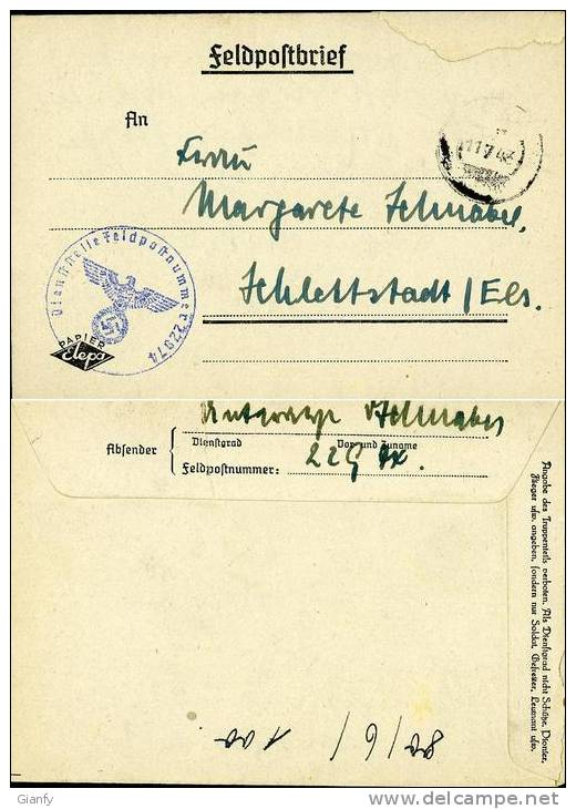 GERMANY 1943 FELDPOSTBRIEF 22974 SCHLETTSTADT SELESTAT FRANCE - Briefe U. Dokumente
