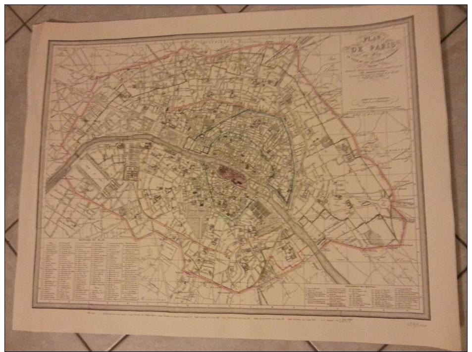Lithographie Plan De Paris En 1839 - Le Tracé De Ses Anciennes Enceintes Par Ambroise Tardieu - Cartes Géographiques