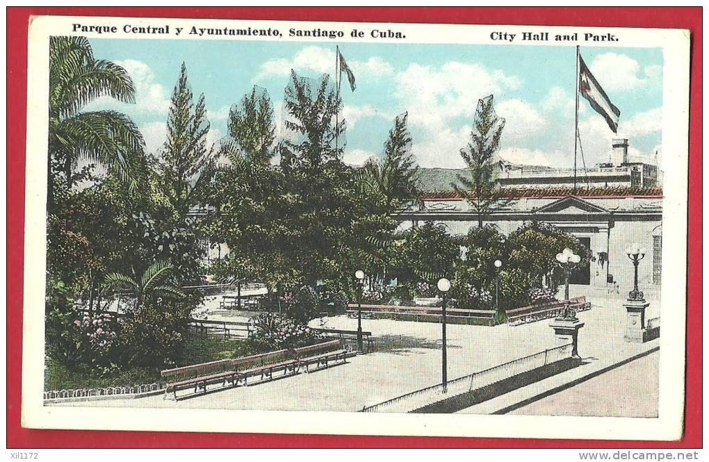 JPX-06 Santiago De Cuba,Parque Central Y Ayuntamiento,City Hall And Park. Non Circulé. Renacimiento - Cuba